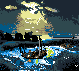 Two fishing boats on a dark sea, drawn in pixel art style.