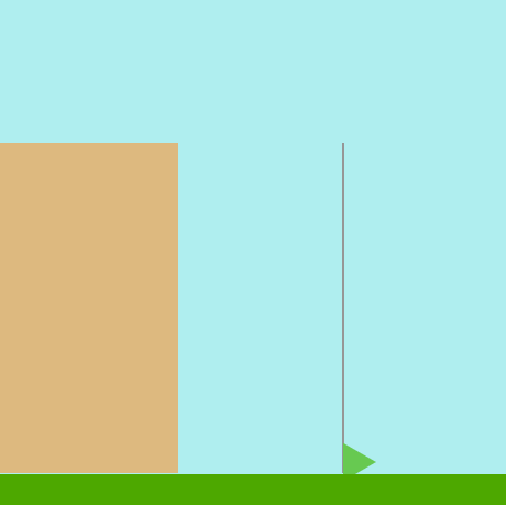a brown cliff next to a flag pole with a green triangular flag