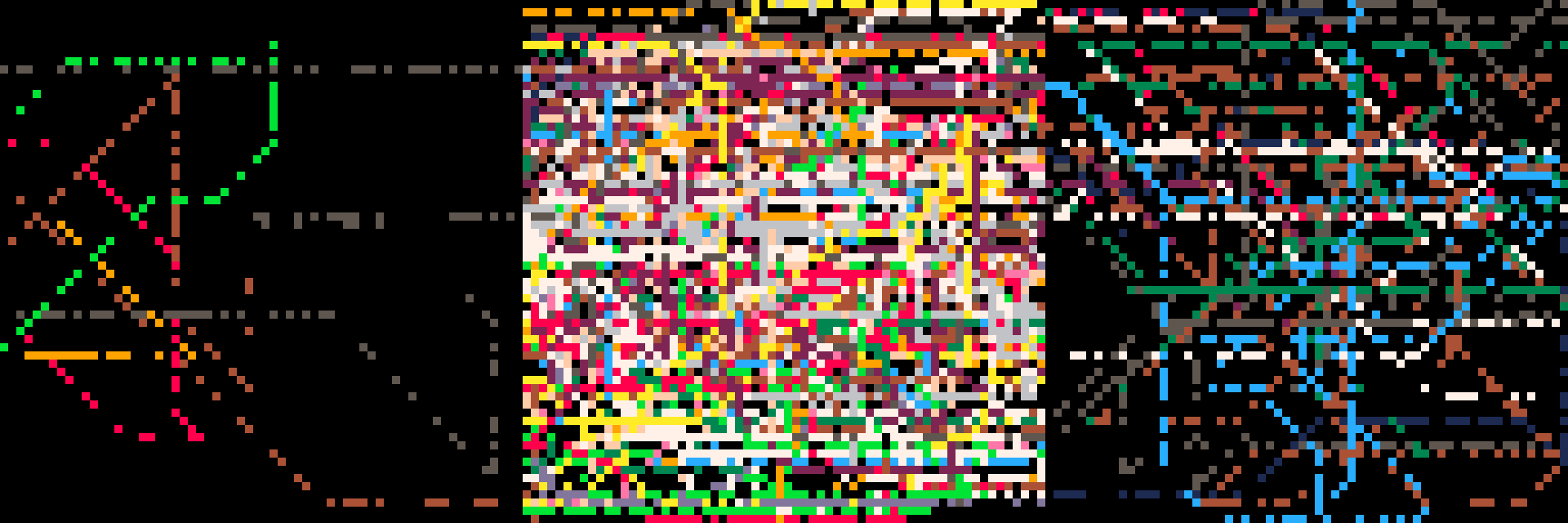 three images of pixel-art lines