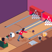 isometric pixel art bowling alley