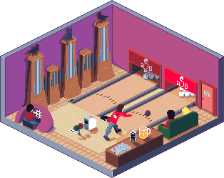 a bowling alley and a pipe organ, drawn in isometric pixel art